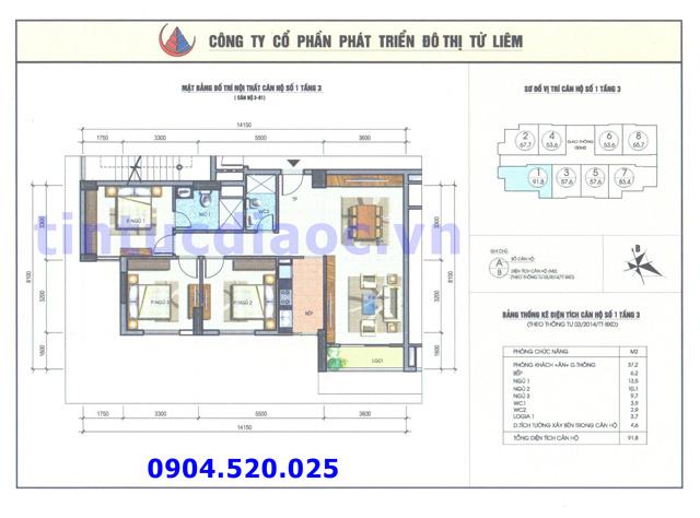 Cho thuê căn hộ 91m2 số 01 Chung cư N04b1 Dịch Vọng