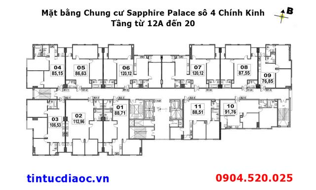 Mặt bằng Chung cư Sapphire Palace số 4 Chính Kinh tầng từ 12A đến 20