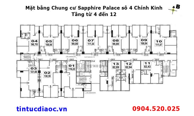Mặt bằng Chung cư Sapphire Palace số 4 Chính Kinh tầng từ 4 đến 12