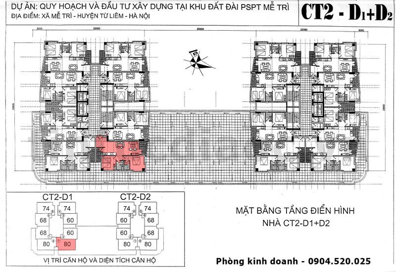 Mặt bằng Chung cư VOV Mễ Trì tòa CT2 - D1 và D2