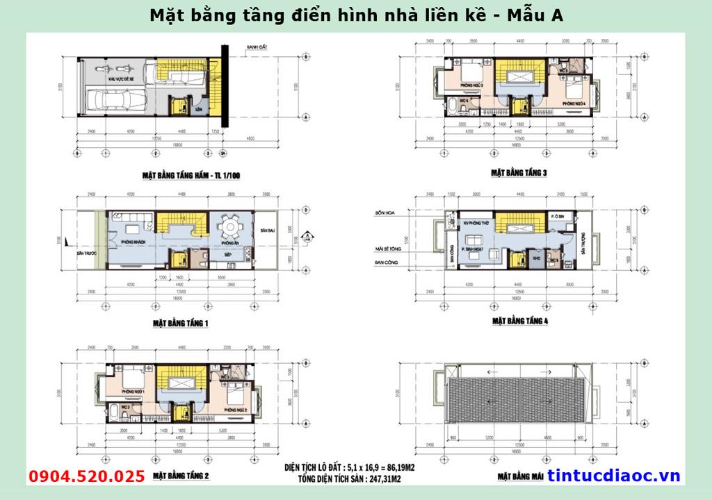 Mặt bằng tầng điển hình nhà Liền kề 671 Hoàng Hoa Thám - Mẫu A