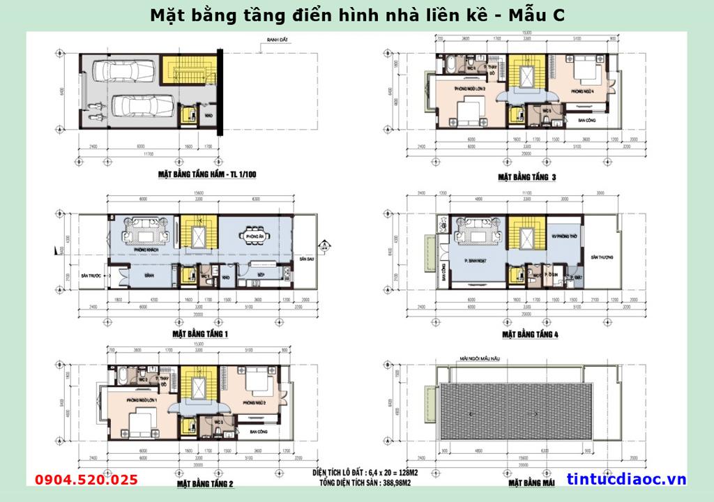 Mặt bằng tầng điển hình nhà Liền kề 671 Hoàng Hoa Thám - Mẫu C