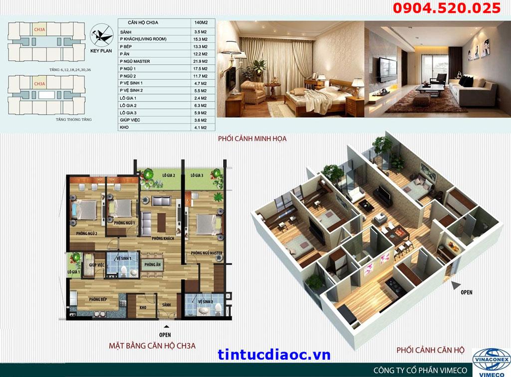 Mặt bằng căn hộ CH3A Chung cư CT4 Vimeco