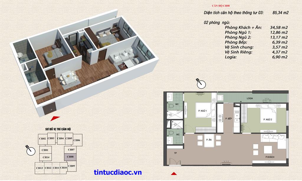 Căn hộ CH08 Chung cư Eco Green Tower số 1 Giáp Nhị